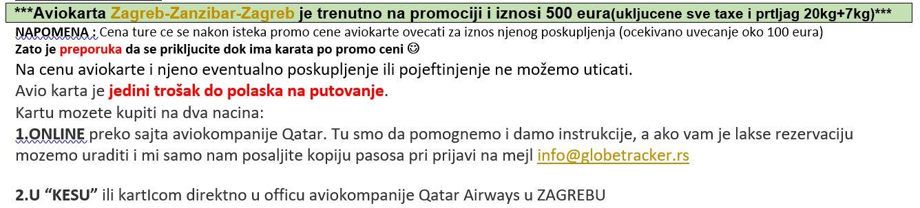 PROMO ZANZIBAR polasci iz Zagreba